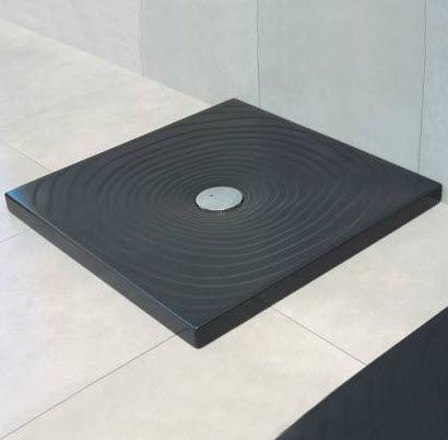 Flaminia Receveur de douche à gouttes d'eau Flaminia 80x80 H5.5 en céramique noire polie