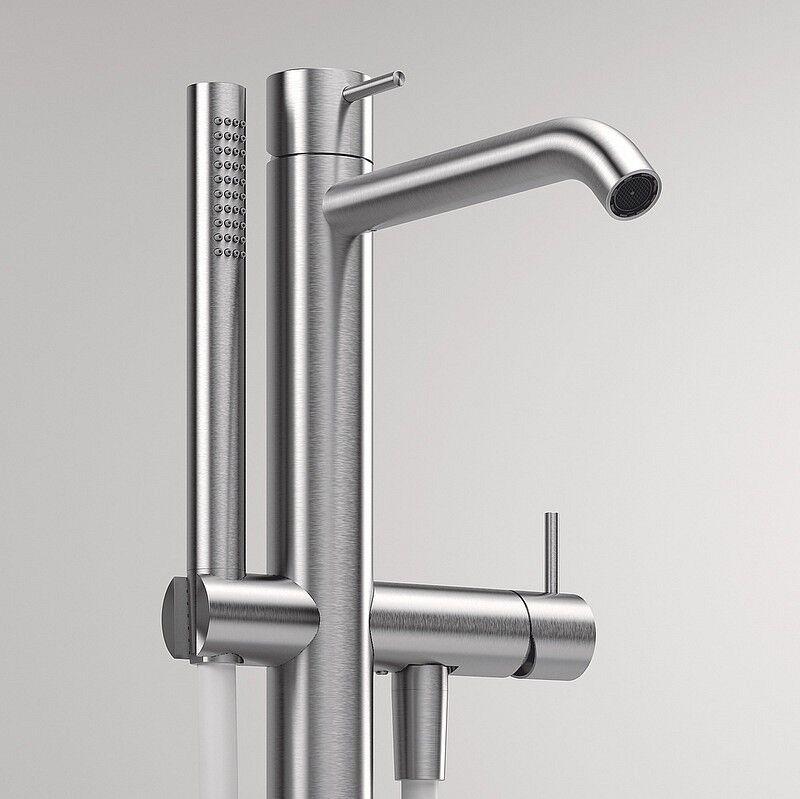 Zazzeri Mitigeur de baignoire à fixation au sol Z316 en acier inoxydable brossé