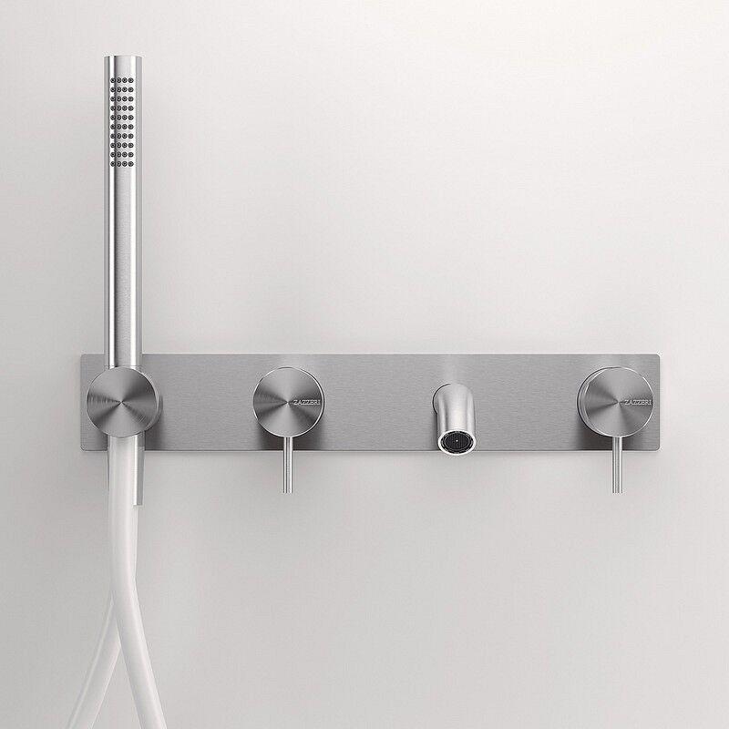 Zazzeri Mélangeur intégré pour le bain Z316 en acier inoxydable brossé