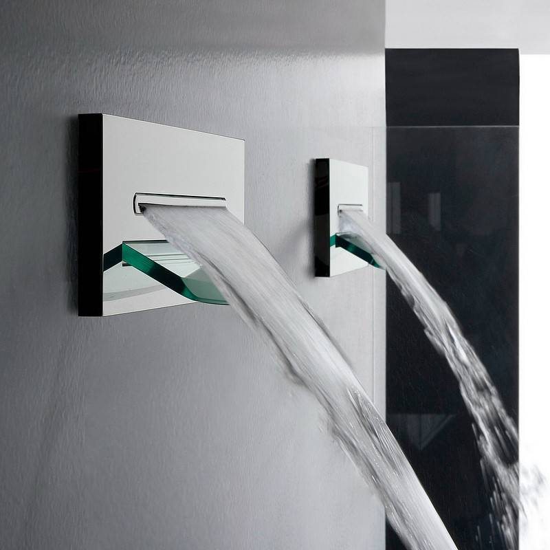 Zazzeri Chute d'eau mur Shirò - Chrome poli