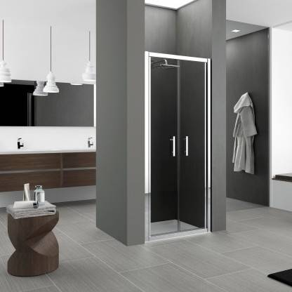 Novellini Porte de douche Porte de douche avec 2 heurtoirs Zephyros B 75 - fumée - blanc