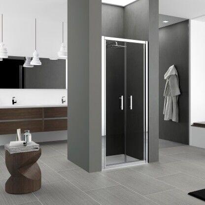 Novellini Porte de douche à 2 portes Zephyros B 100 - fumée - chrome