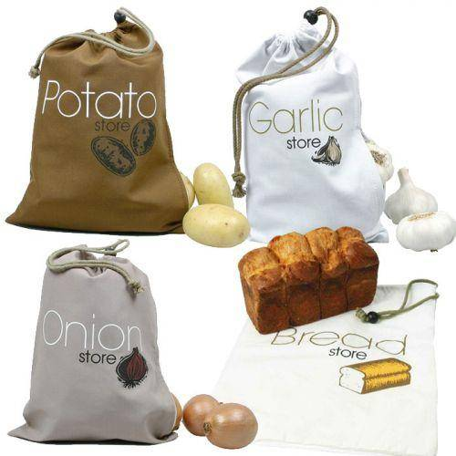 Youdoit 4 sacs de conservation alimentaires en tissu : ail, oignons, pommes de terre, pain