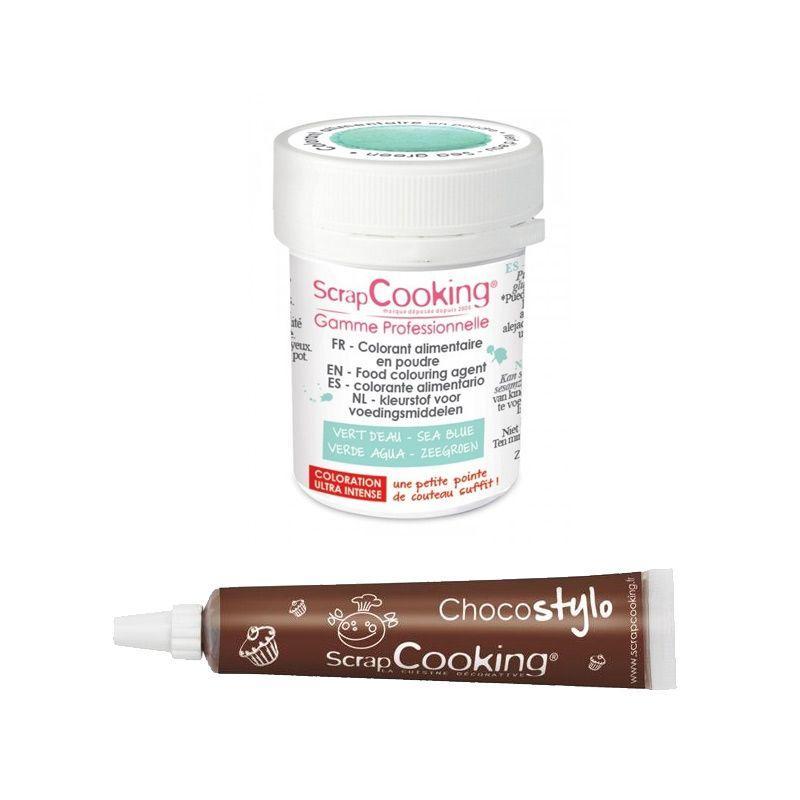 ScrapCooking Stylo chocolat + Colorant alimentaire en poudre vert d'eau