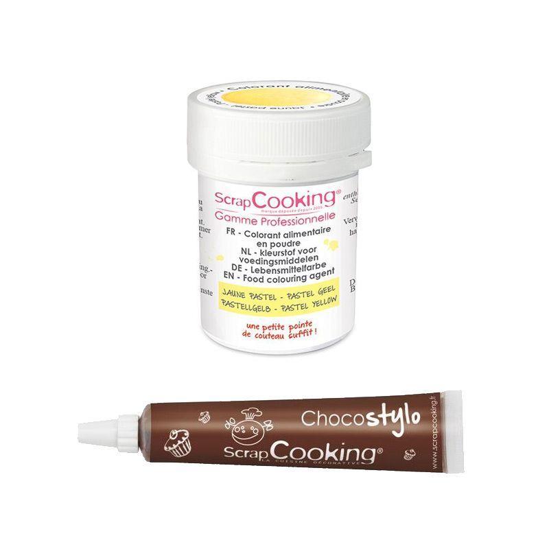 ScrapCooking Stylo chocolat + Colorant alimentaire en poudre jaune pastel