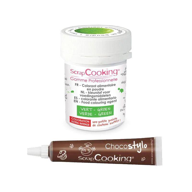 ScrapCooking Stylo chocolat + Colorant alimentaire en poudre vert