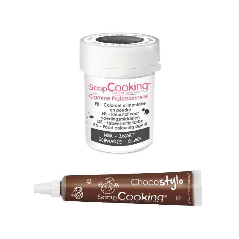 ScrapCooking Stylo chocolat + Colorant alimentaire en poudre noir