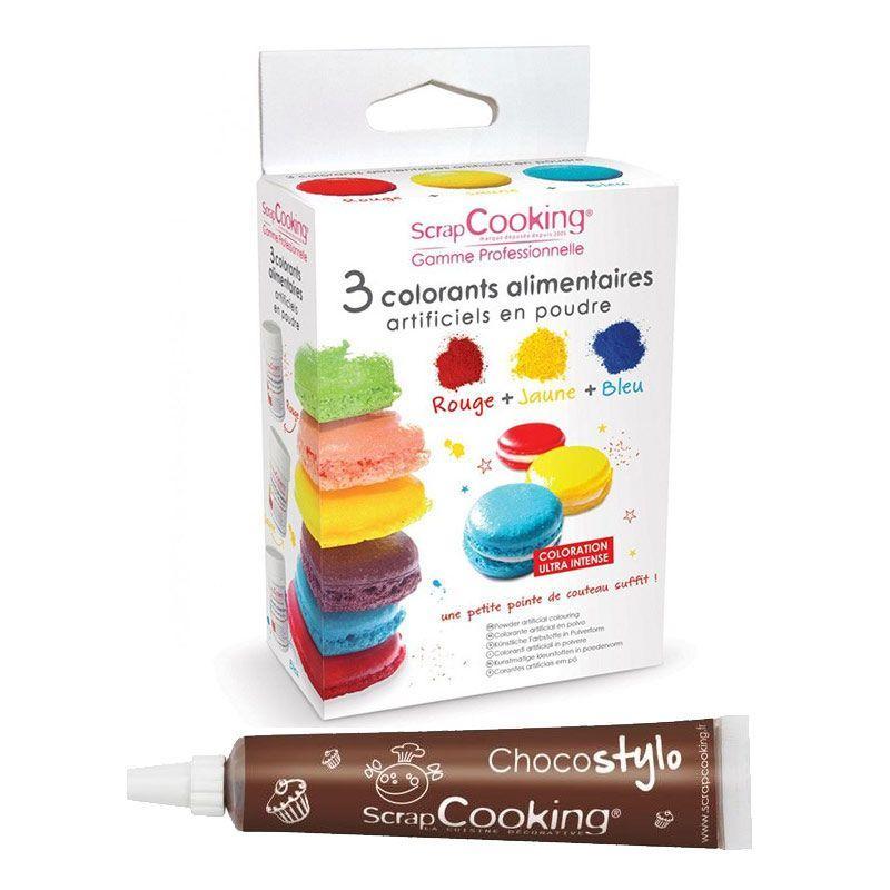ScrapCooking 3 colorants alimentaires en poudre jaune-rouge-bleu + 1 Stylo chocolat offert