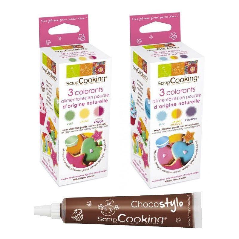 ScrapCooking Colorants alimentaires naturels rouge jaune vert orange bleu violet + 1 Stylo chocolat