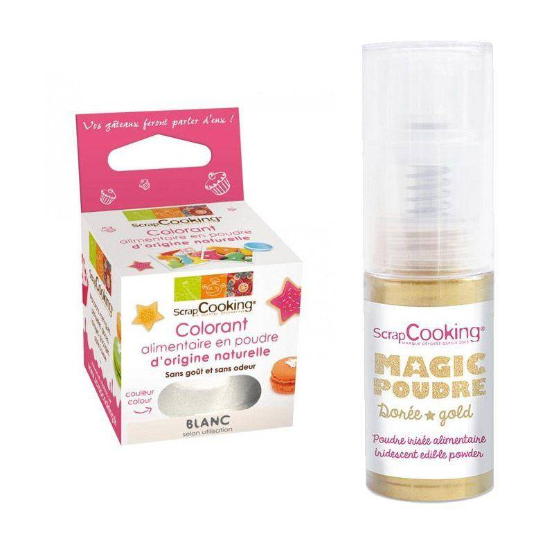 ScrapCooking Colorant alimentaire naturel en poudre Blanc + Poudre iris