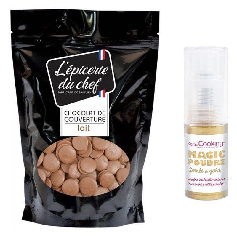 ScrapCooking Palets de couverture chocolat au lait 1 kg + 1 poudre alimentaire iris
