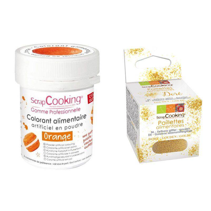 ScrapCooking Colorant alimentaire Orange + paillettes dor
