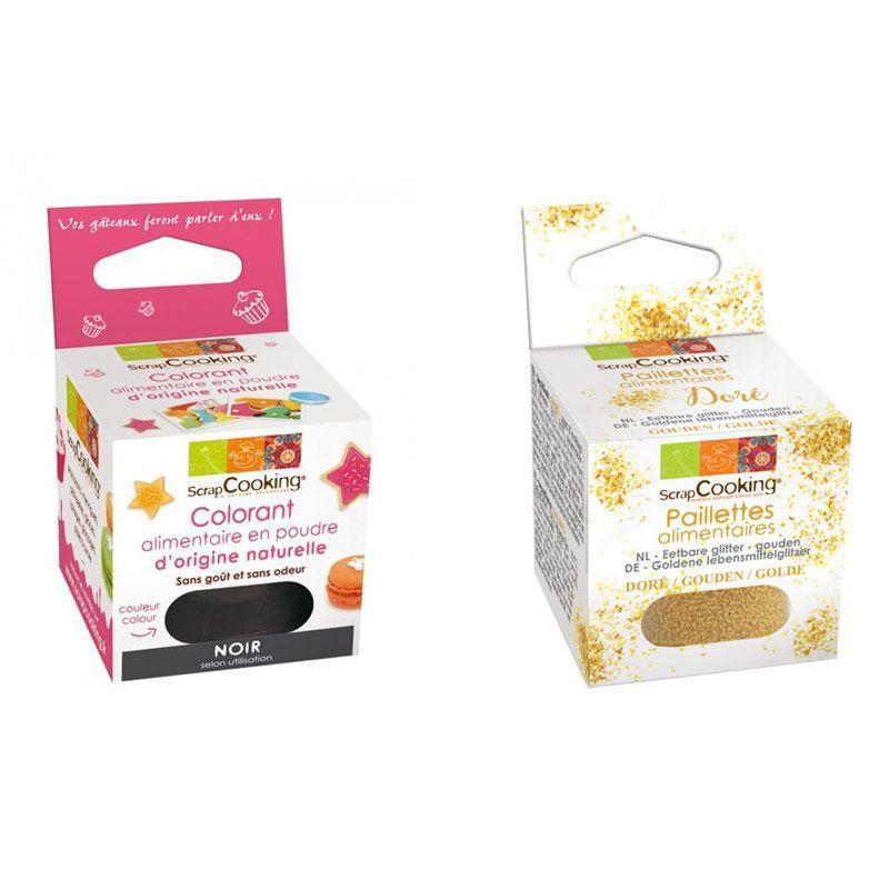 ScrapCooking Colorant alimentaire naturel en poudre Noir + paillettes dor