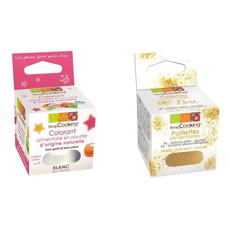 ScrapCooking Colorant alimentaire naturel en poudre Blanc + paillettes dor
