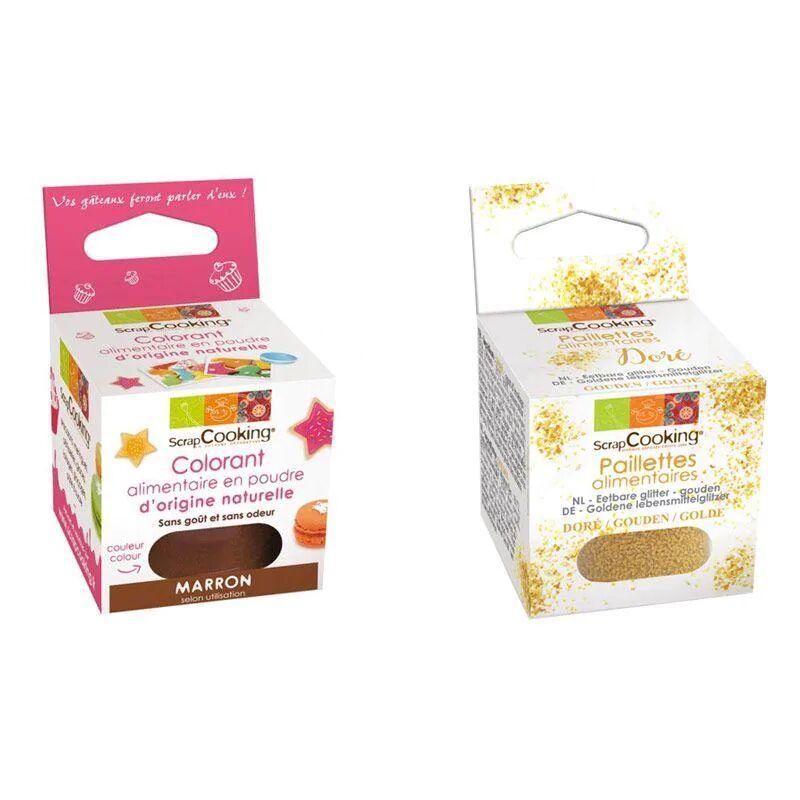 ScrapCooking Colorant alimentaire naturel en poudre Marron + paillettes dor