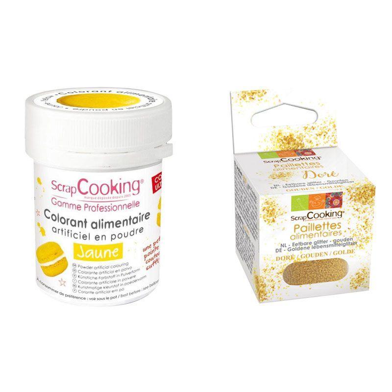 ScrapCooking Colorant alimentaire Jaune + paillettes dor