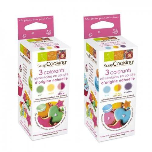 ScrapCooking Colorants alimentaires naturels rouge, jaune, vert, orange, bleu, violet