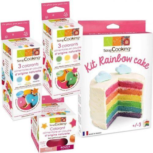 ScrapCooking Kit rainbow cake + 7 couleurs de l'Arc-en-ciel (colorants naturels)