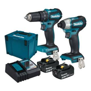 Makita Kit d'appareils sans fil Makita 18 V DLX2221JX2 Perceuse-visseuse à percussion sans fil DHP483 et visseuse à percussion sans fil DTD155 avec 2 batteries 3,0 Ah