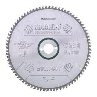 Metabo Lame de scie circulaire HW/CT 216 x 30 x 2,4/1,8, nombre de dents 60, denture plate/denture trapézoïdale, angle d'attaque 5° nég. metabo