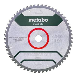 Metabo Lame de scie circulaire HW/CT 305x30x2,4/1,8, nombre de dents 56, denture en biseau alterné, angle d'attaque 5° nég., « Precision cut classic » metabo