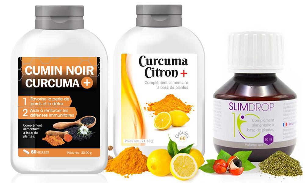 La cure : Curcuma citron 240 gélules + Cumin noir 240 gélules + Slimdrop 4 mois