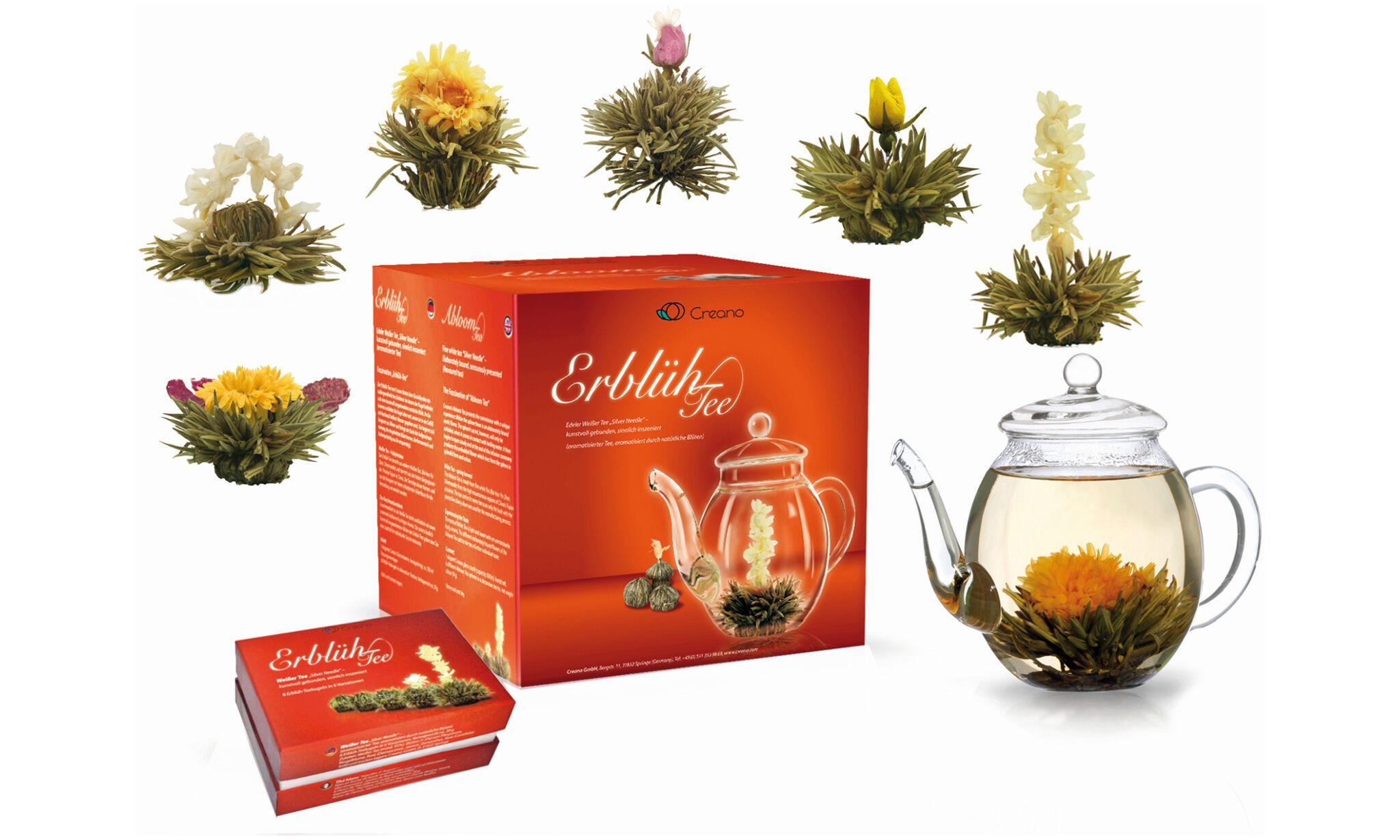 Coffret thé blanc avec une sélection de 6 fleurs de thé blanc et une théière en verre 500 ml