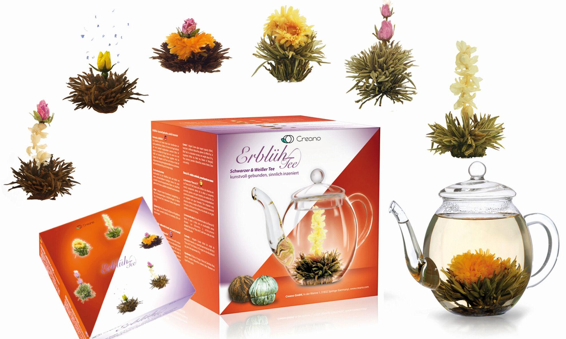 Coffret cadeau avec une sélection de 3 fleurs de thé blanches et 3 fleurs de thé noir et une théière en verre de 500 ml