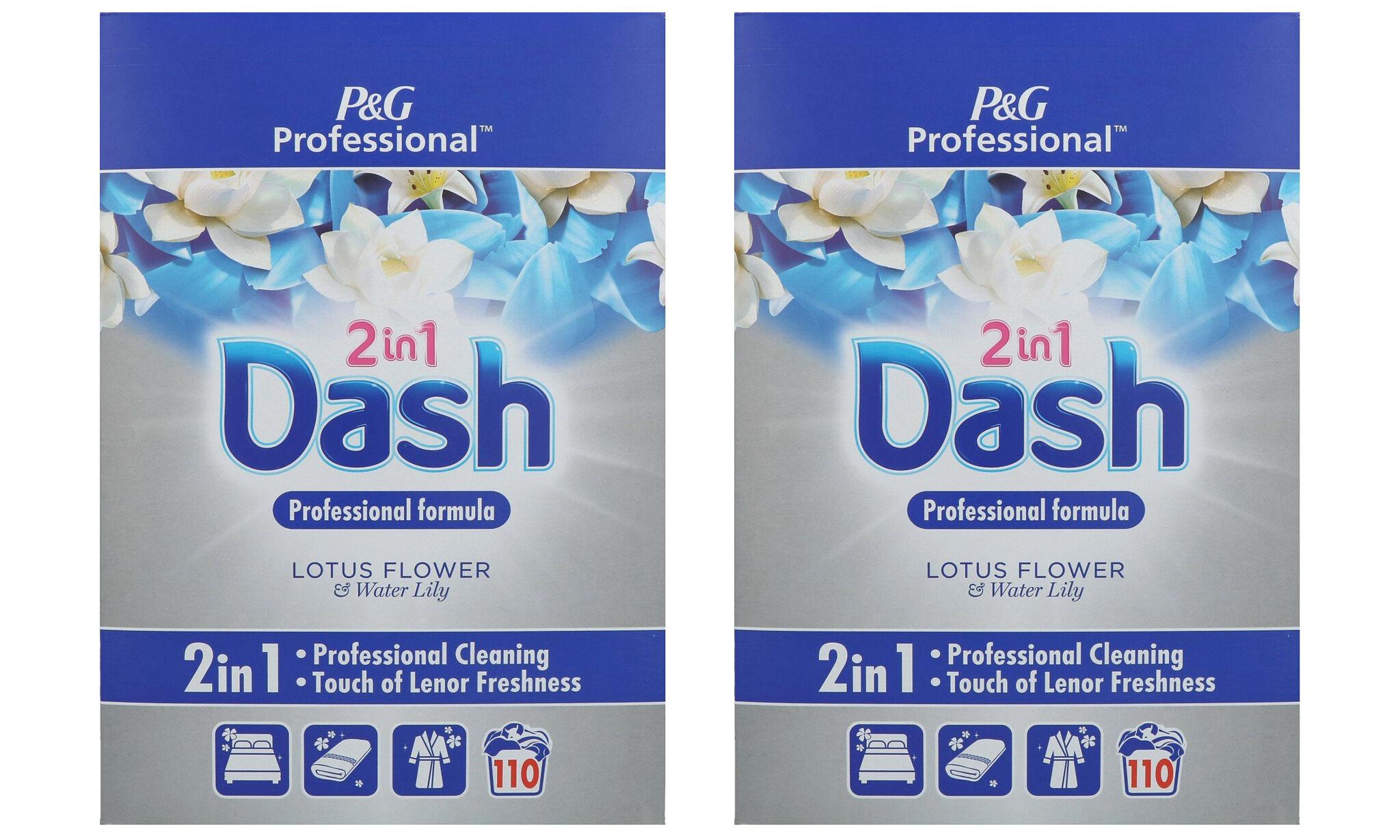 Pack de lessive en poudre Dash 2-en-1 : Fleur de lotus et nénuphar / x2