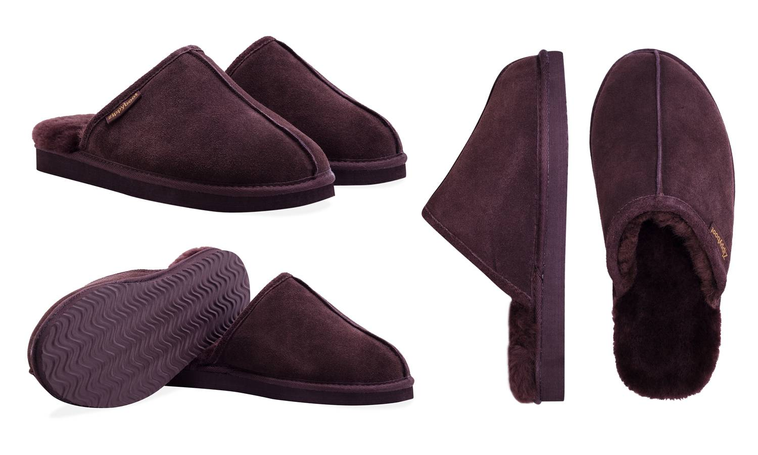 Chaussons homme en cuir Redfoot : Chocolat / 42