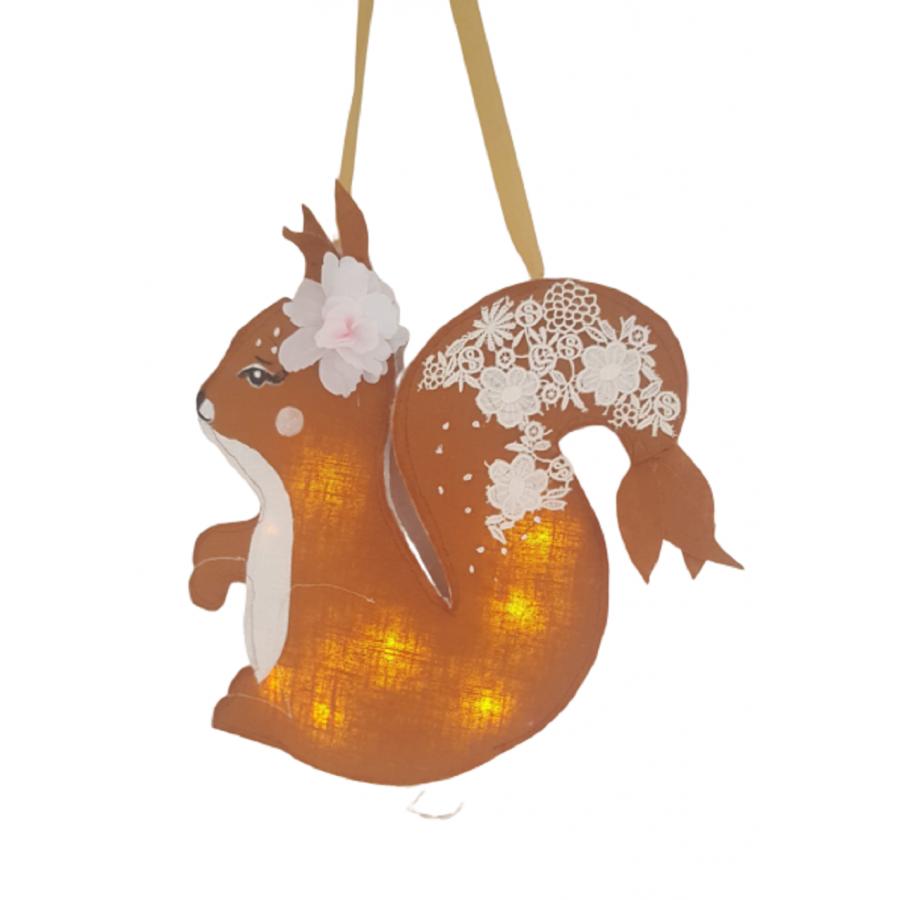 Isathena Veilleuse ecureuil plume