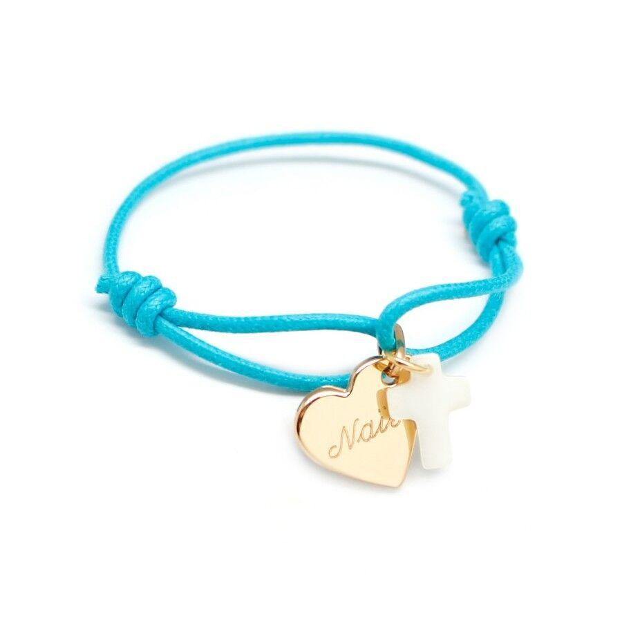 Petits tresors Bracelet personnalisé enfant - coeur de croix