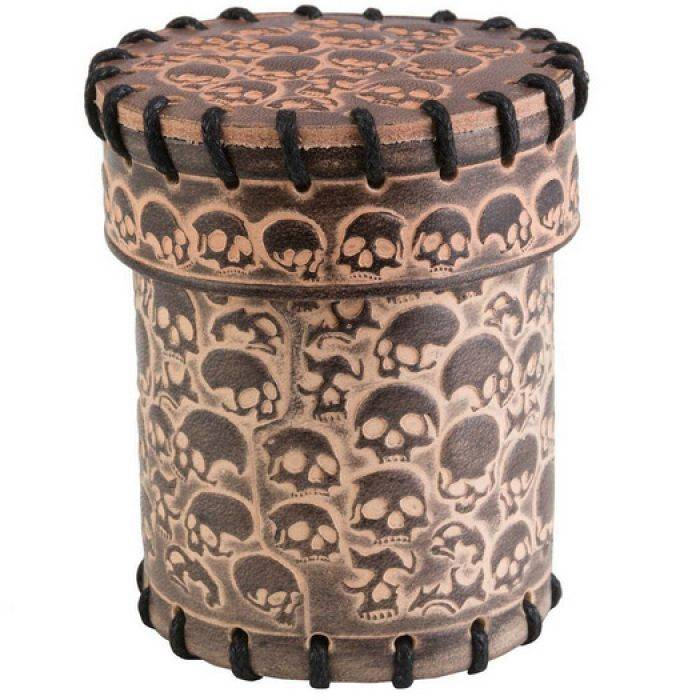 BlackFire Skull Beige Leather Dice Cup