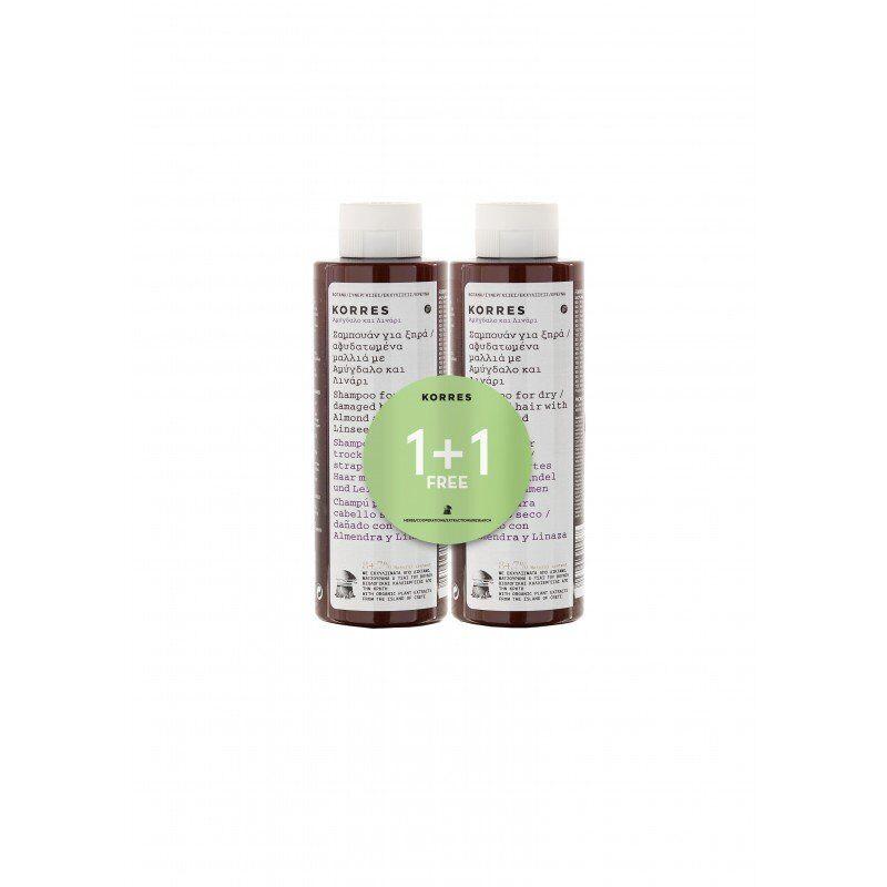 Korres hair shampooing amandes & graines de lin 2x250ml promo