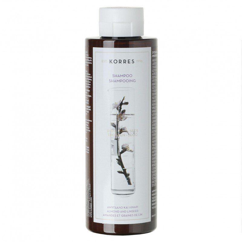 Korres hair shampooing amandes & graines de lin cheveux secs/abimes 250ml