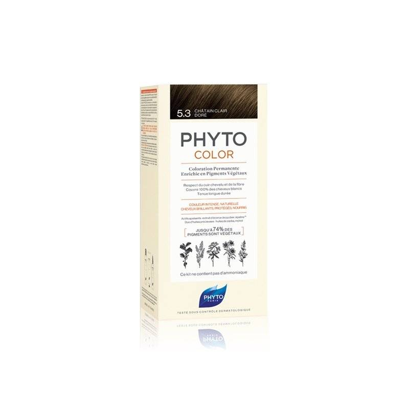 Phyto color coloration permanente 5.3 châtain clair doré - Chatain