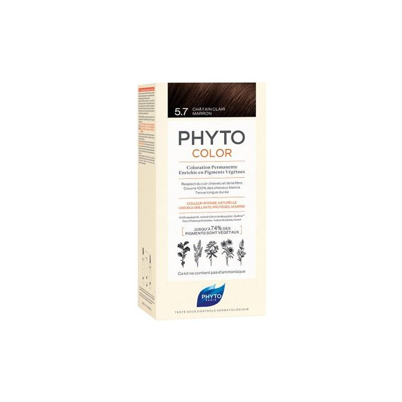 Phyto color coloration permanente 5.7 châtain clair marron - Chatain