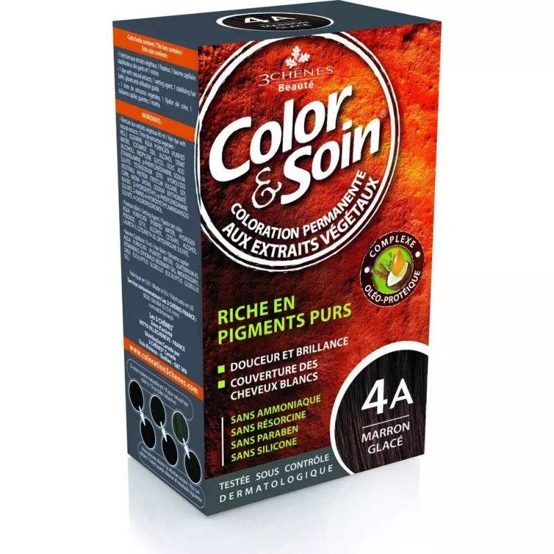 Les 3 Chênes color & soin coloration permanente 4a marron glacé 60ml