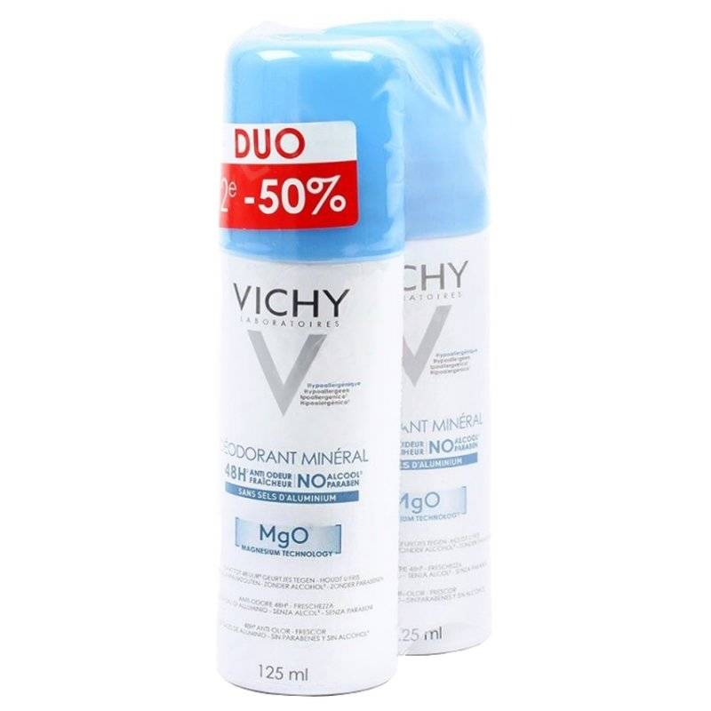 Vichy déodorant minéral 48h anti-odeur 2 x 125 ml