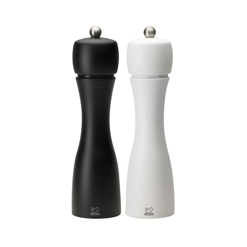 PEUGEOT SAVEURS Salt and Pepper Mill Set 20cm - Tahiti Duo Black And White - Peugeot Saveurs