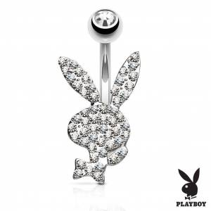 """Piercing Street"" ""Piercing nombril Playboy cristaux blancs"""
