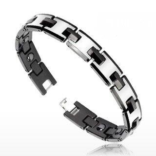 """""""Piercing Street"""" """"Bracelet Bio-Magnetic Tungstène Duo Noir Argenté """""""