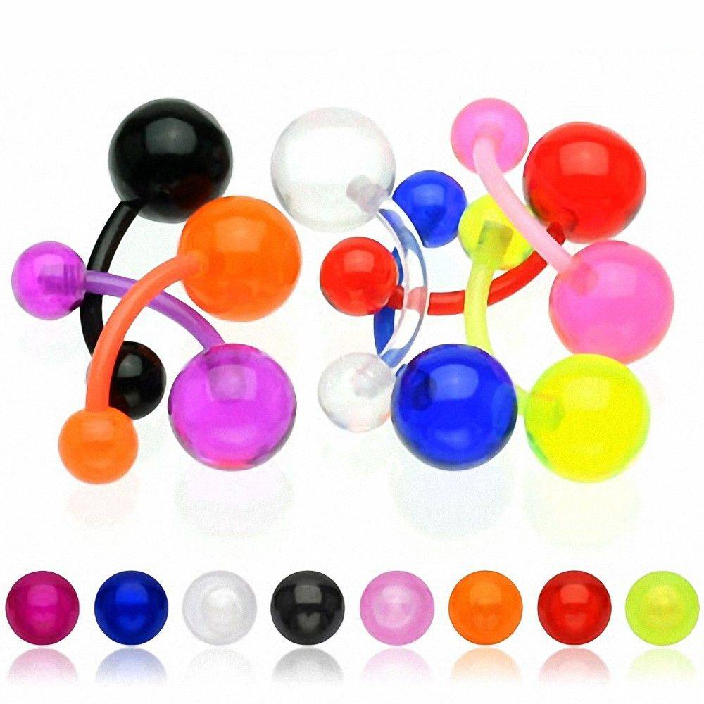"""""""Piercing Street"""" """"Lot de 9 piercing nombril bioflex boules acrylique"""""""
