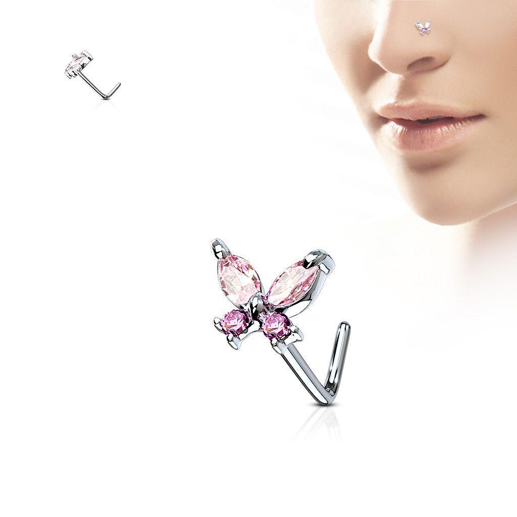 """Piercing Street"" ""Piercing nez tige en L papillon gemmes roses"""