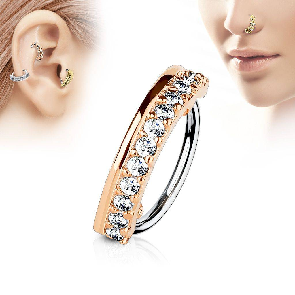 """Piercing Street"" ""Piercing nez anneau ligne de strass or rose"""