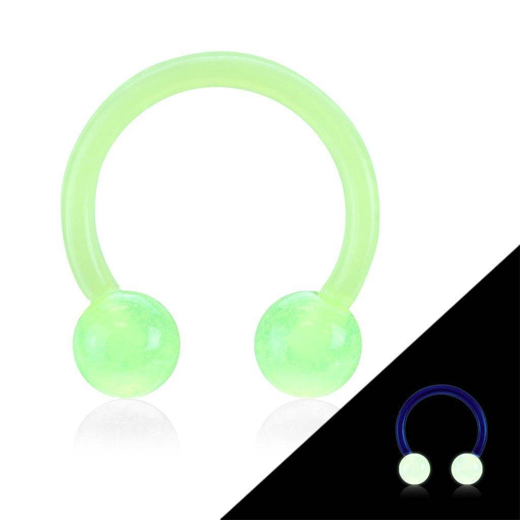Piercing Street Piercing fer à cheval Bioflex glow in the dark vert