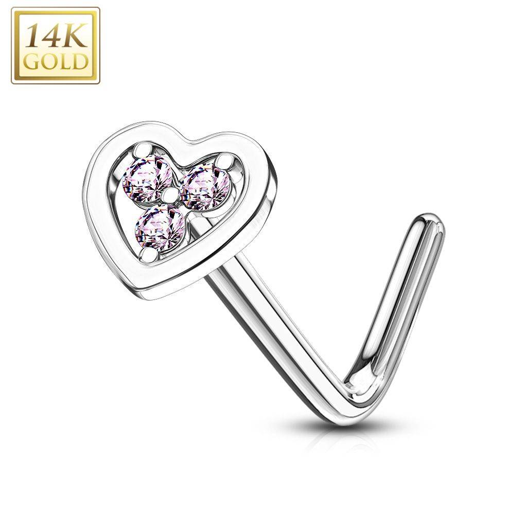 """""""Piercing Street"""" """"Piercing nez Or blanc 14 carats coeur trois strass roses"""""""