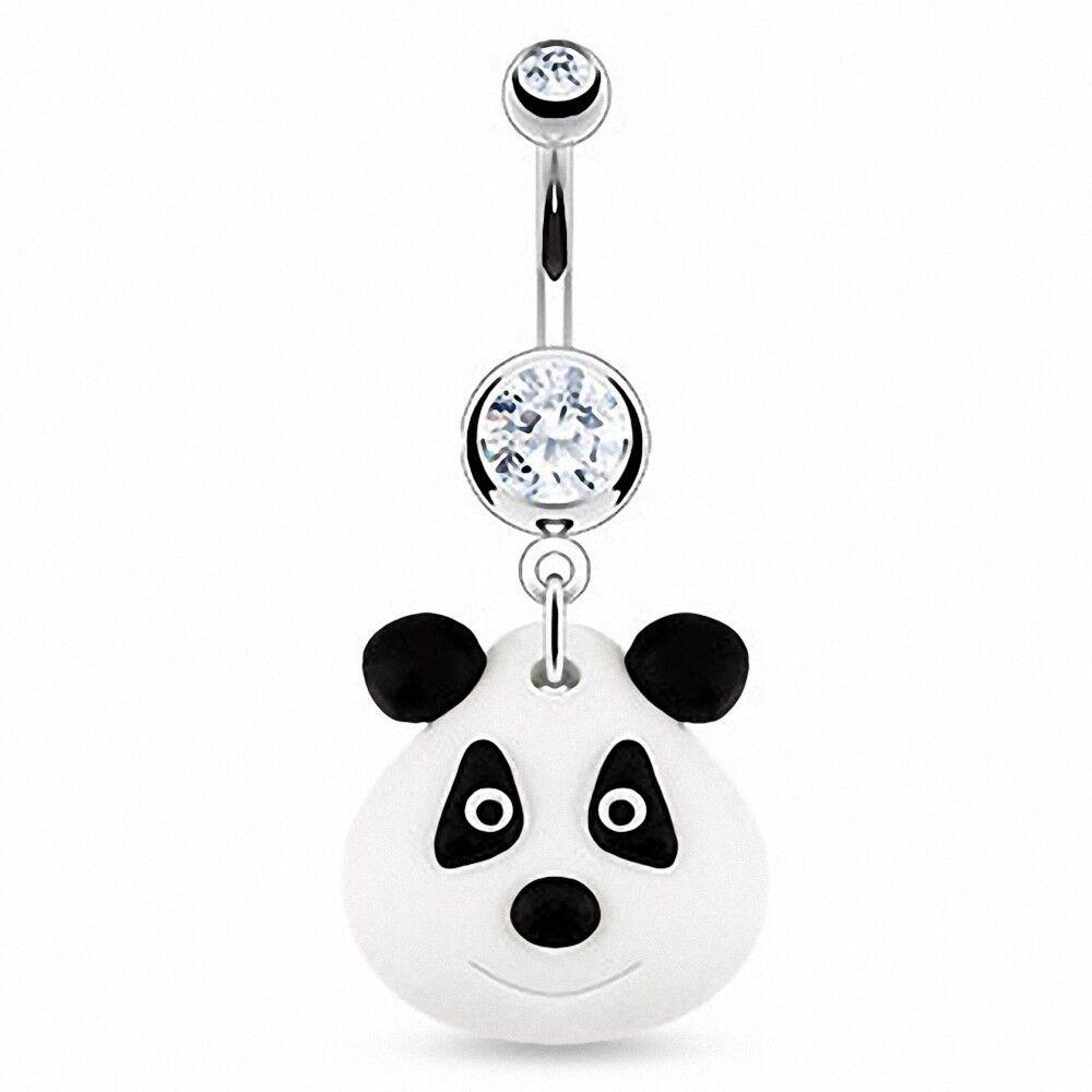 """Piercing Street"" ""Piercing nombril Pendentif Panda Argile Durcie"""