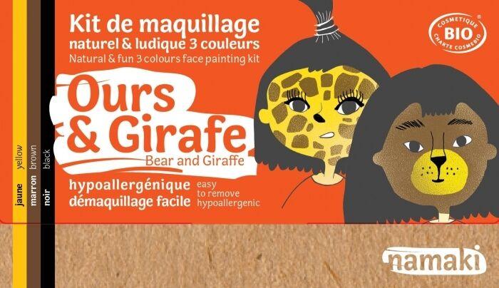 NAMAKI Kit maquillage bio 3 couleurs - Ours et Girafe
