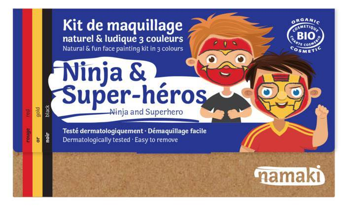 NAMAKI Kit maquillage bio 3 coul. - Ninja et Super-héros